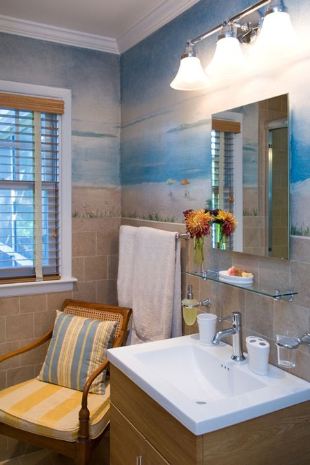 New Guest Bath with Restored Mural