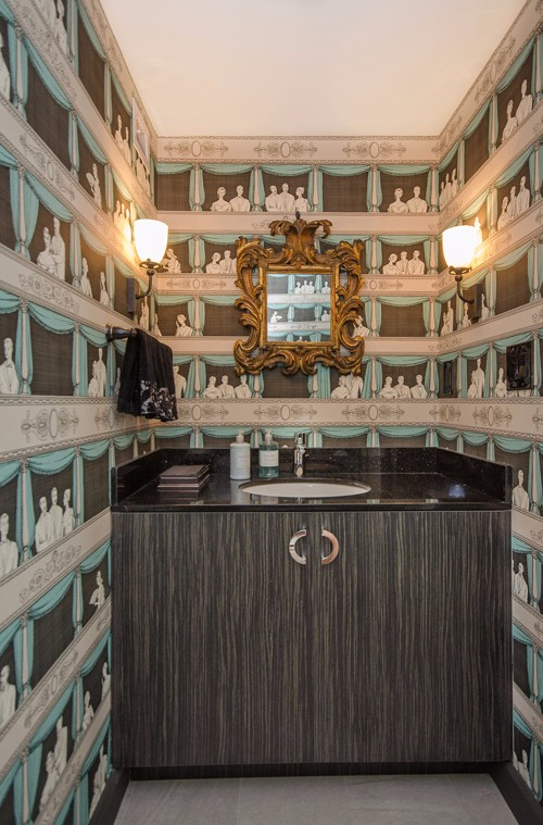 Fabulous Fornassetti Wallpaper Peers Down Into The Powder Room
